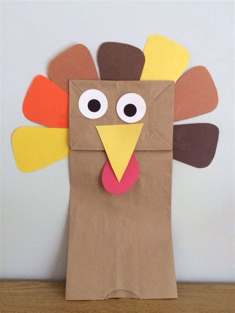 thanksgiving arts and crafts ideas for this paper bag turkey puppet is a simple thanksgiving