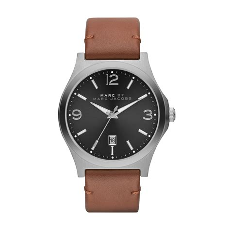 brown leather watches for marc by marc danny brown leather mens in brown for lyst