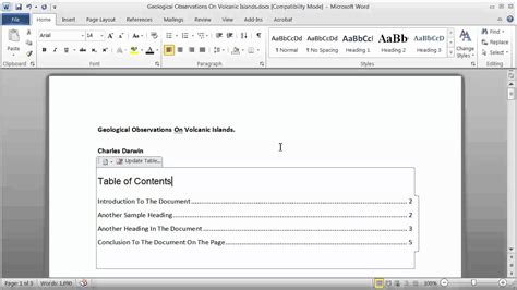 how to make index cards in word 2013 creating a table of contents in a word document part 1