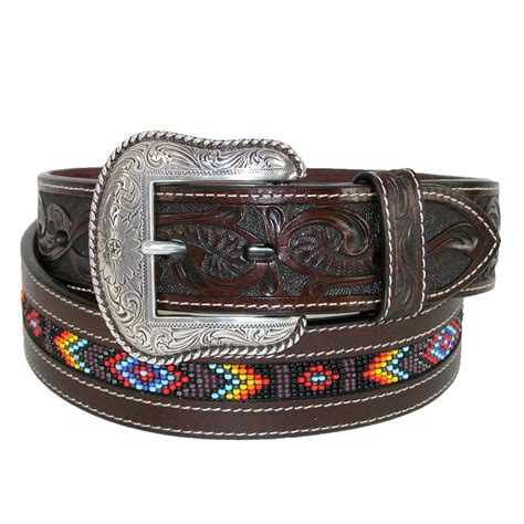Mens Tooled Leather With Beaded Center Western Belt