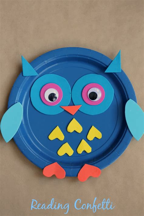 owl paper plate craft paper plate owl craft reading confetti