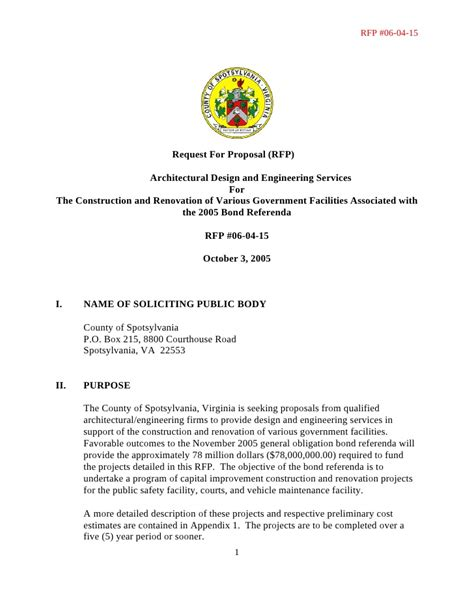 request for proposal rfp architectural design and