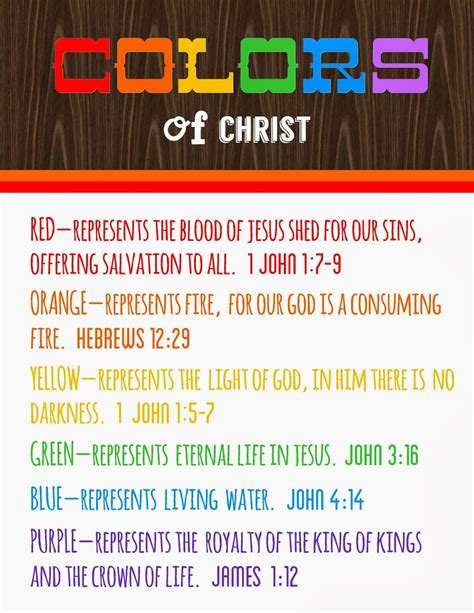 christian meaning colors of meanings free printable detail