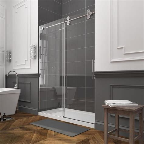sliding glass shower doors lowes shop ove decors sydney 56 in to 59 in w frameless polished