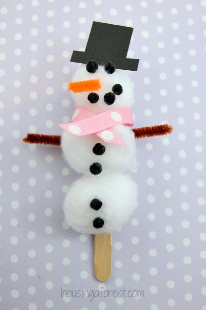 snowman craft cotton snowman craft housing a forest
