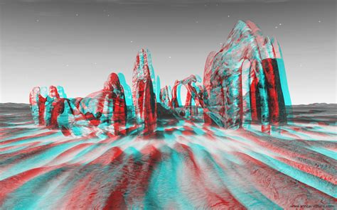 3d Home Decor ground fractal rocks 3d stereo anaglyph image red cyan