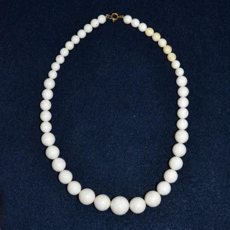 plastic bead necklaces white plastic bead necklace vintageanelia jewelry on