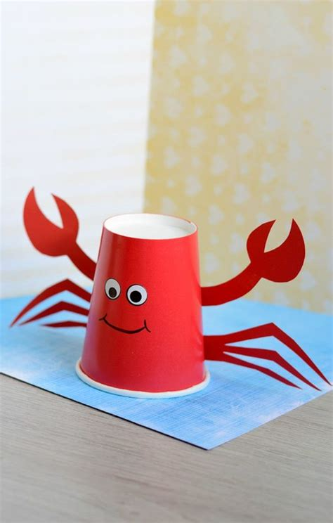 Paper Cup Crab Craft For Crabs Birthdays And Summer