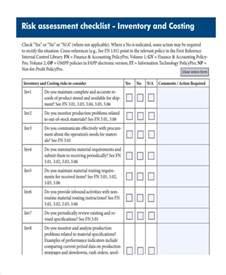 risk assessment checklist template security risk
