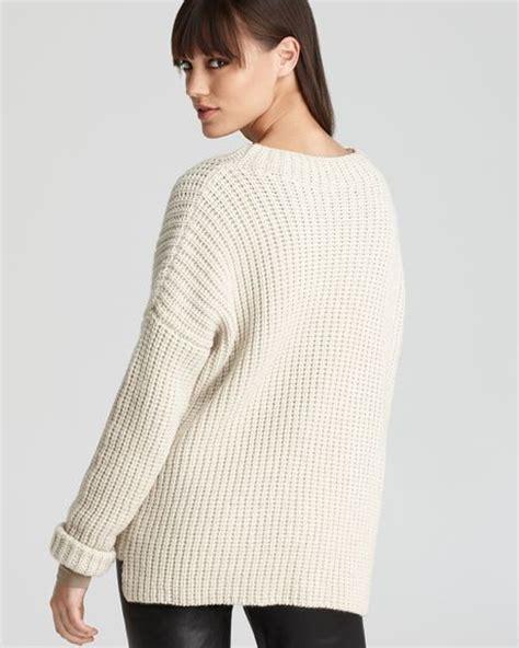 shaker knit sweater vince sweater rib stitch shaker knit crew in beige ivory