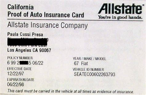 make insurance card allstate auto insurance card allstate auto insurance