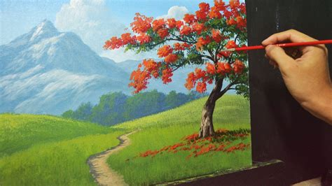 painting landscapes acrylic landscape painting lesson the tree by