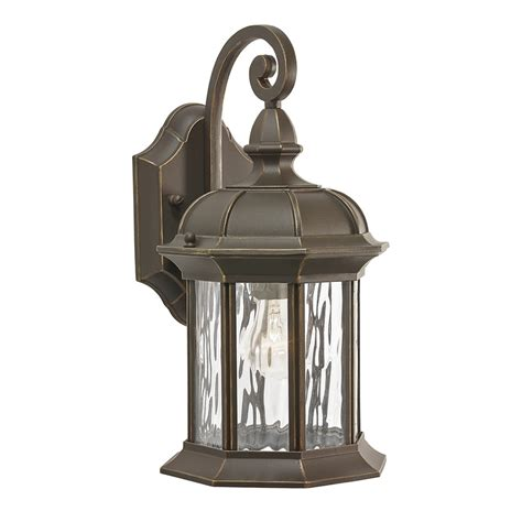 shop kichler lighting brunswick 12 76 in h olde bronze outdoor wall light at lowes