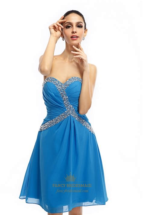 blue beaded dress blue strapless sweetheart knee length chiffon dress with