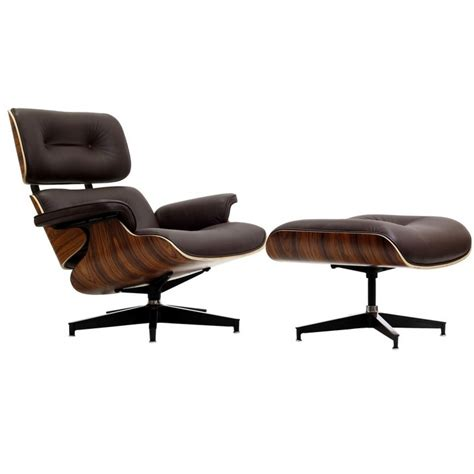 leather chairs and ottomans eames style lounge chair and ottoman brown leather walnut wood