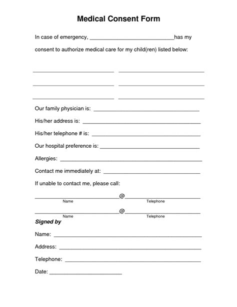 medical treatment consent form sample forms