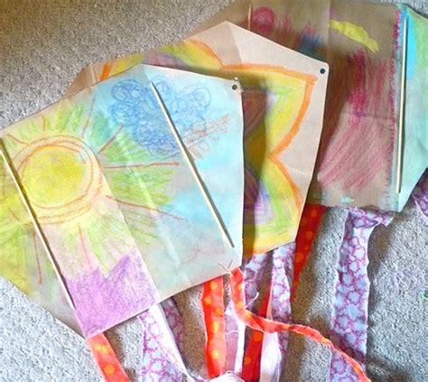 paper bag kite craft let s go fly a diy kite handmade