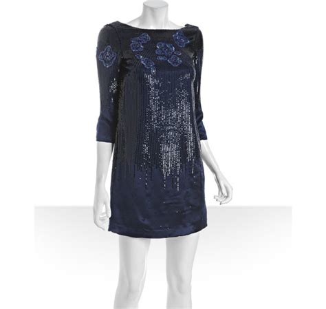 navy beaded dress heritage navy silk sequined and beaded dress in