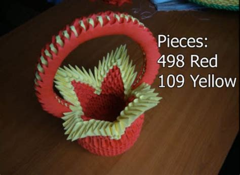 how to make origami flower basket how to make 3d origami flower basket