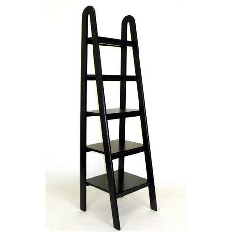 black ladder bookshelves basswood 5 tier ladder bookcase in black 9025b