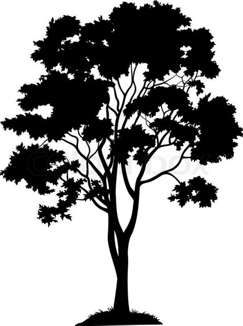 black mini tree maple tree with leaves and grass black silhouette on