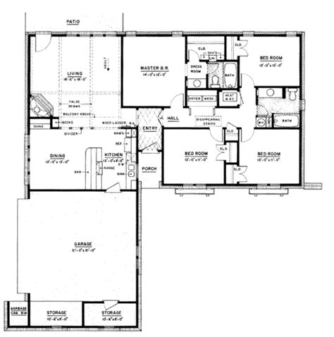 1500 sq ft house floor plans ranch style house plan 4 beds 2 baths 1500 sq ft plan