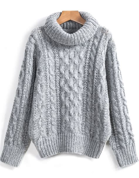 knitted sweaters grey high neck cable knit sweater shein sheinside