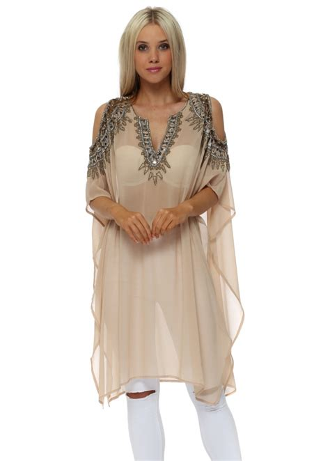 beaded kaftan tops faust beaded cold shoulder kaftan tunics tops from
