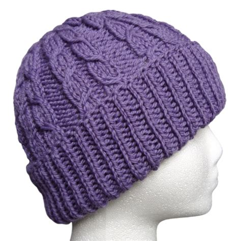 purple knit hat the hat dueling cables lavender purple wool knit hat
