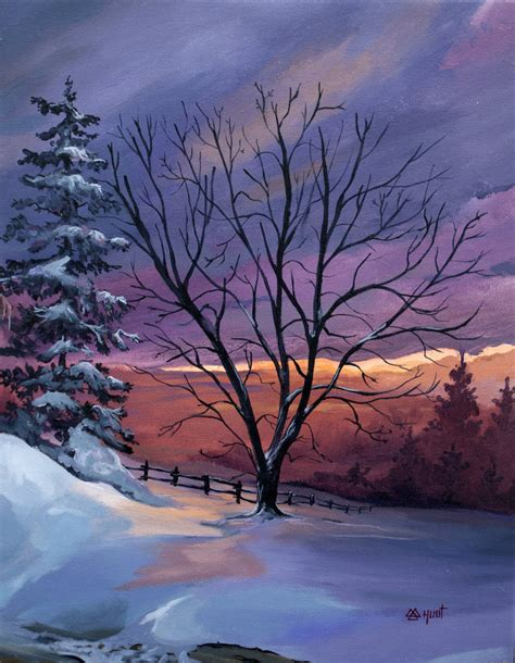 acrylic painting winter winter by hellien on deviantart