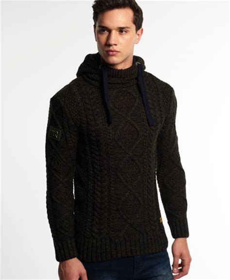 knit hoodie mens black blizzard knit hoodie in twist superdry