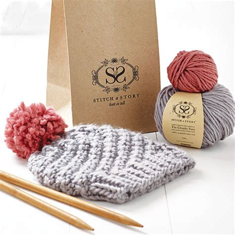 Knitting Kit Beginner S Pom Pom Hat Gift Set By Stitch