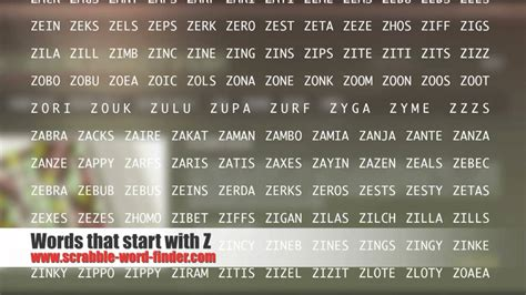 scrabble word starting with z words that start with z