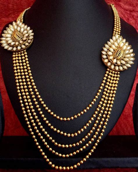 indian necklace buy pearl flower motif bridal marriage south indian