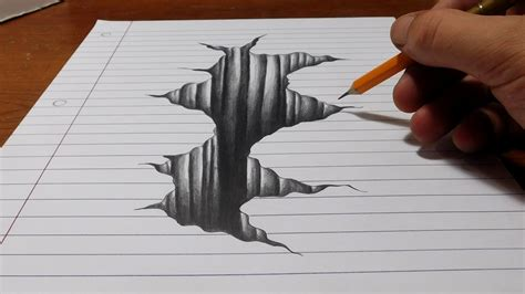 how to draw 3d trick on line paper drawing 3d