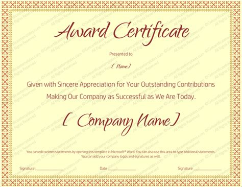 blank award templates award on retirement certificate template editable and