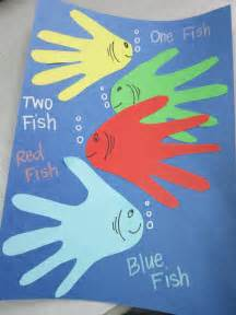 dr suess crafts for dr seuss handprint inspiration one fish two fish