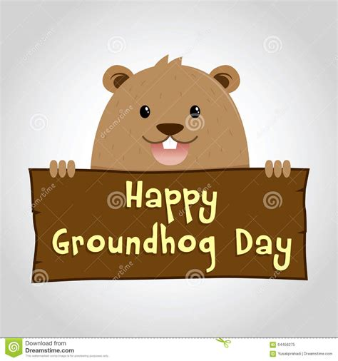 groundhog day expression groundhog holding a wooden sign stock vector image 64456275