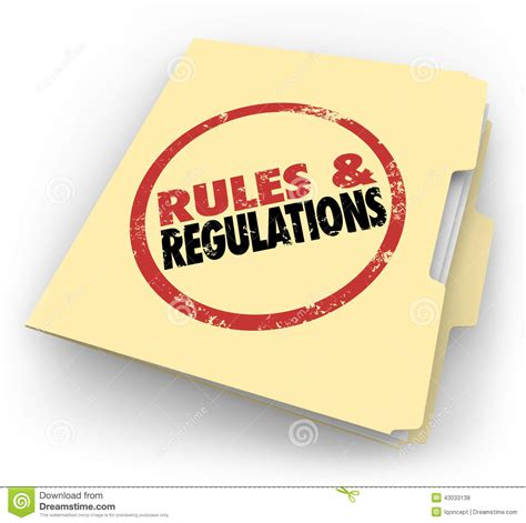 and regulations regulations manila folder sted documents files