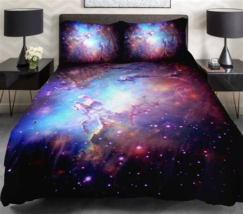 space comforter set 3d duvet cover printing galaxy on blue sheets and outer