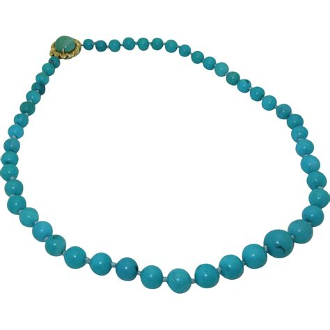 turquoise bead necklace vintage 14k genuine turquoise bead necklace from