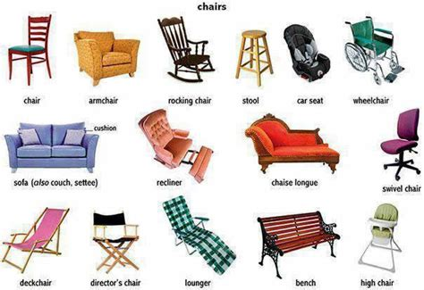 different types of chairs and the different types learning