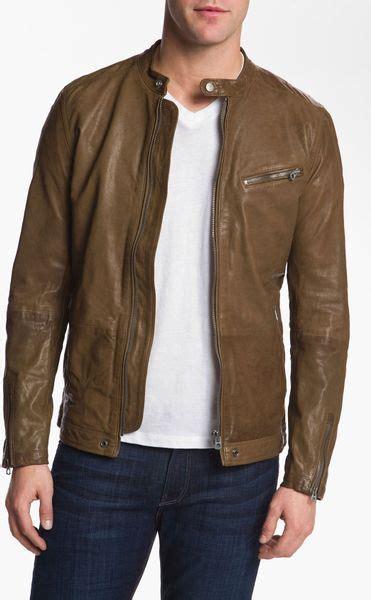 mens light brown leather jacket diesel losheka leather moto jacket in brown for light brown lyst