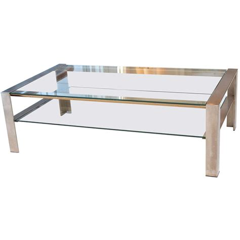 stainless coffee table handsome coffee table in brushed stainless steel at 1stdibs