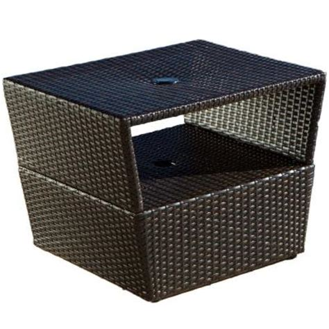 patio umbrella stand side table rst brands espresso rattan 22 in x 28 in patio side