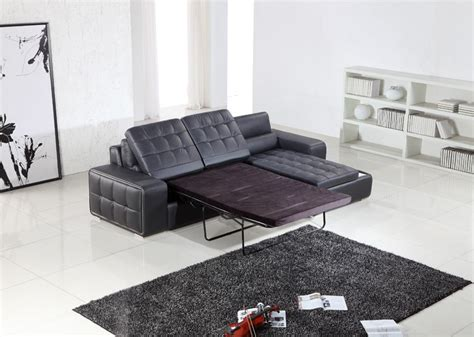 pull out sofa sectional t225 modern black leather sectional w pull out sofa bed
