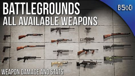 pubg weapon damage pubg battlegrounds all weapons and statistics youtube