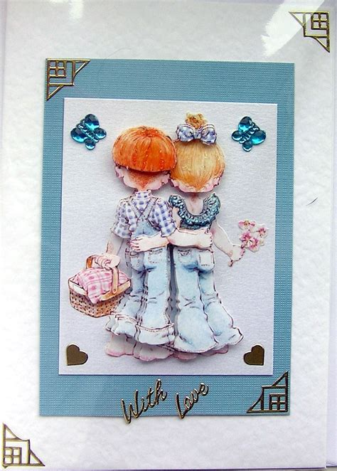 decoupage card courting crafted 3d decoupage card with