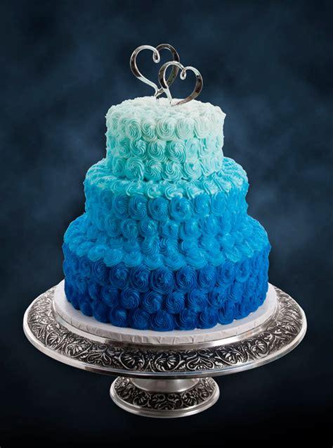 Cobalt Blue And White Wedding Cake