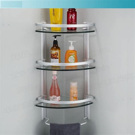 corner shelves bathroom aliexpress buy aluminum 3 tier glass shelf shower